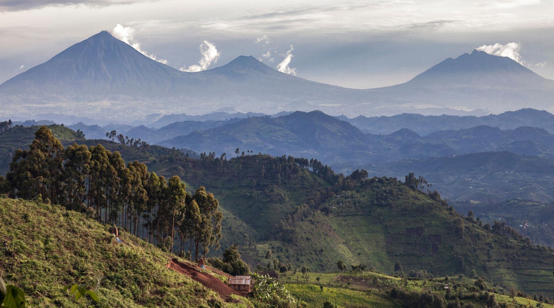 Rwanda volcanoes and landscape