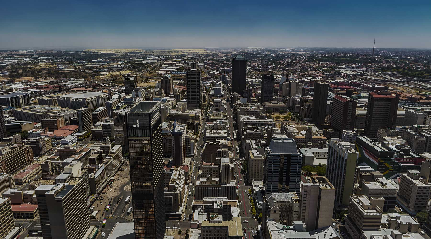 City scape from a drone